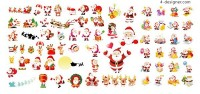 Various shapes of Santa Claus vector material