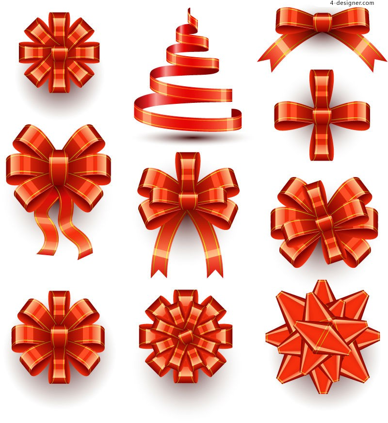 Vector material for designing beautiful red ribbon bow