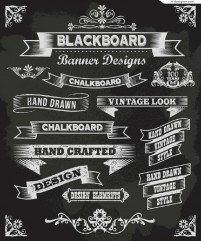 Vector material for designing hand painted chalk ribbon frame