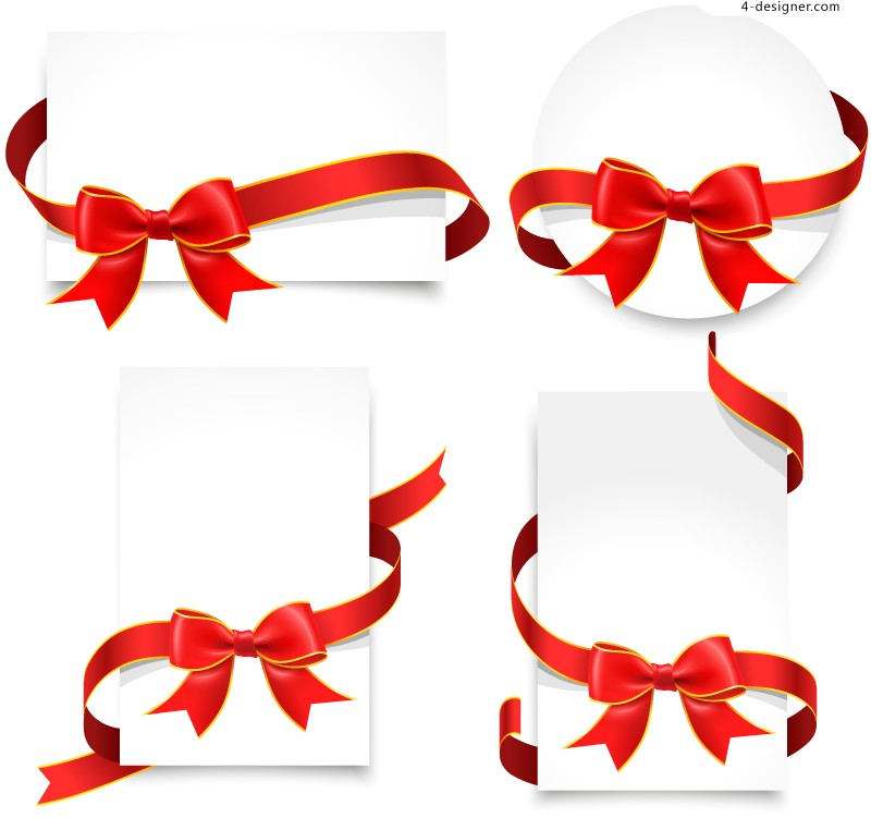 Vector material of beautiful bow card