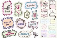 Vector material of childlike hand painted label
