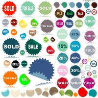 Vector material of colorful discount label