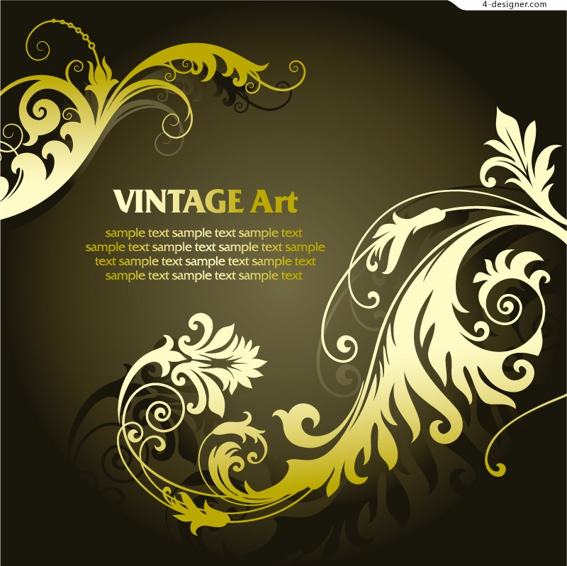 Vintage gold pattern background vector material