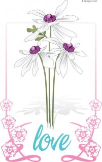 White flowers lace vector material