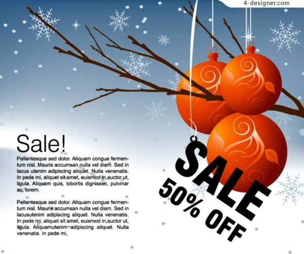 Winter discount sales posters vector material
