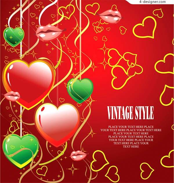 2 cool Valentine s Day heart shaped background vector materials