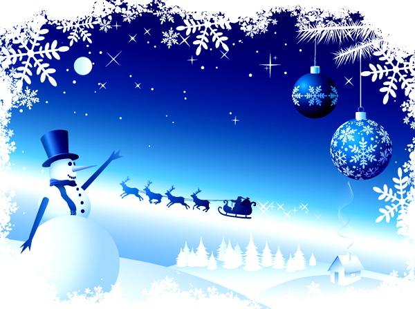 2 fabulous Christmas snowman vector materials