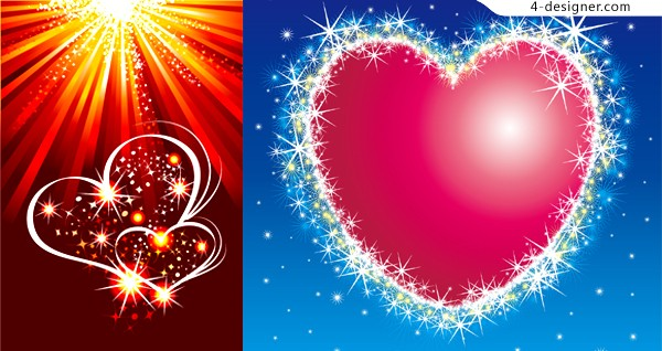 2 flashing heart shaped Valentine s Day element vector materials