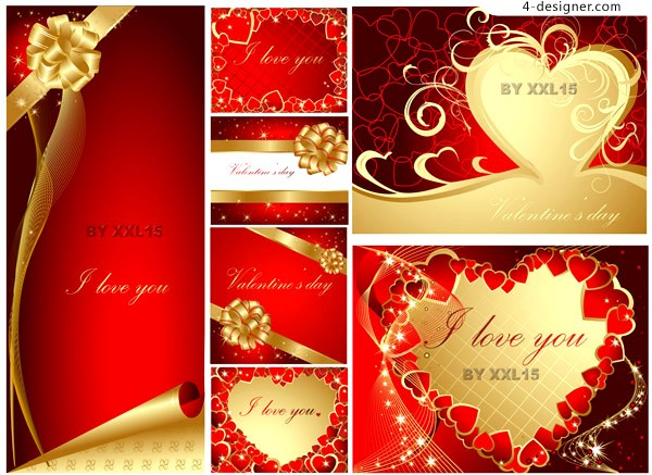 2 sets of beautiful gorgeous Valentine card template vector materials