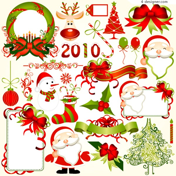 2010 beautiful Christmas element vector material