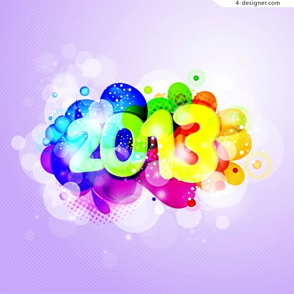 2013 Colorful New Year vector material