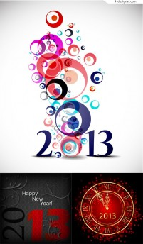 2013 New Year colored background vector material