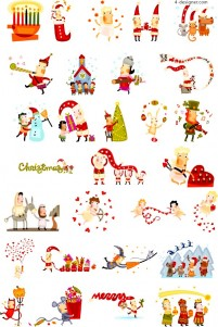29 cute cartoon style Christmas illustrations vector materials