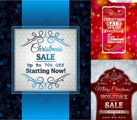 3 Christmas discount poster vector materials