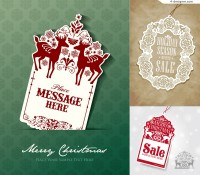 3 Christmas tag design vector materials