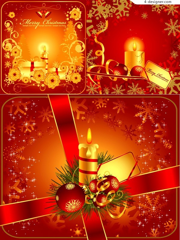 3 Christmas theme card background vector materials