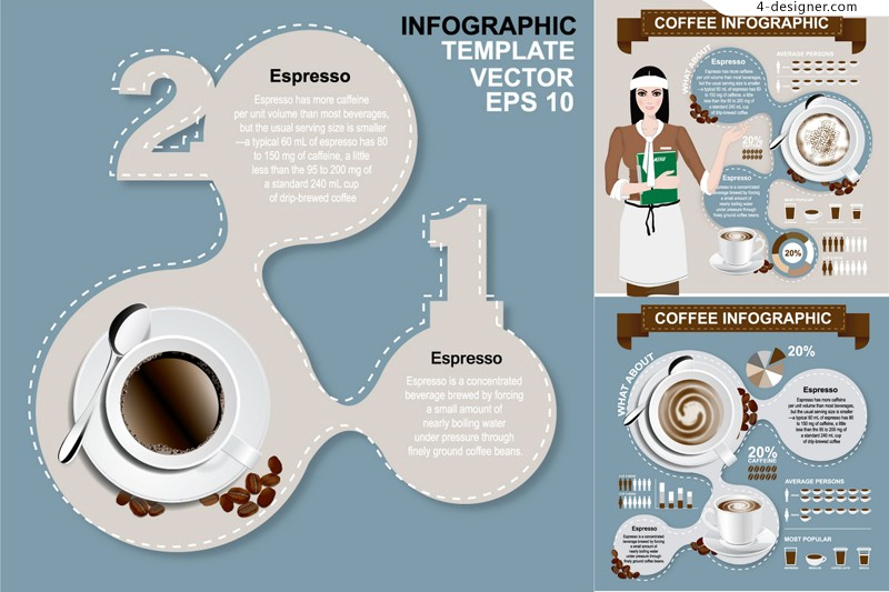 3 vector materials of creative Coffee Information graph