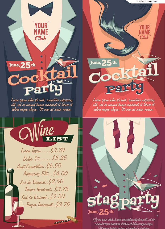 4 vector materials of retro cocktail party poster