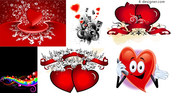 6 fabulous Valentine s Day heart shaped elements vector materials
