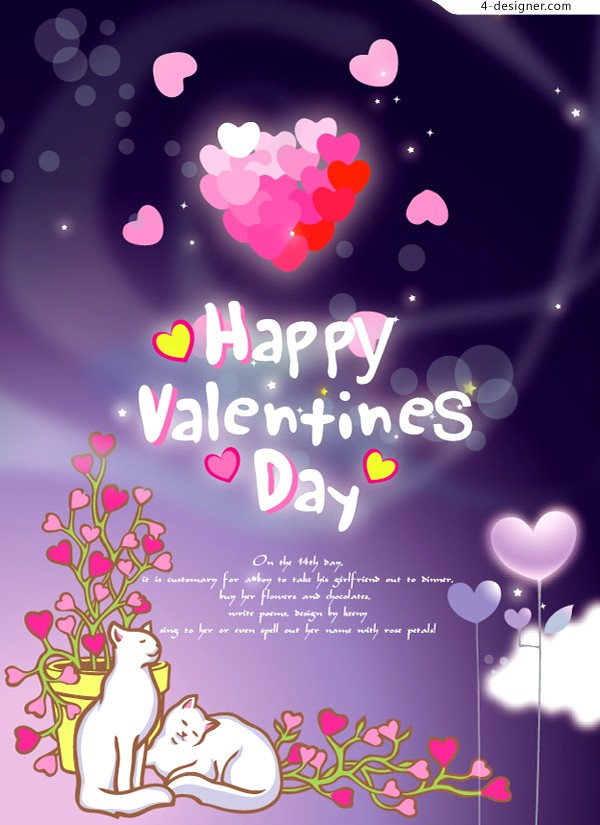 A Valentine s Day greeting card vector material