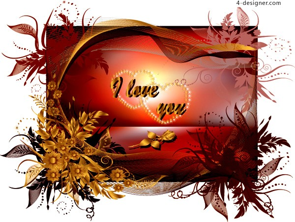 A fine Valentine s Day greeting cards vector material