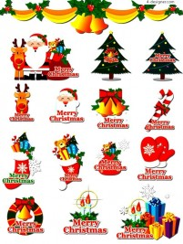 A variety of Christmas theme element vector materials