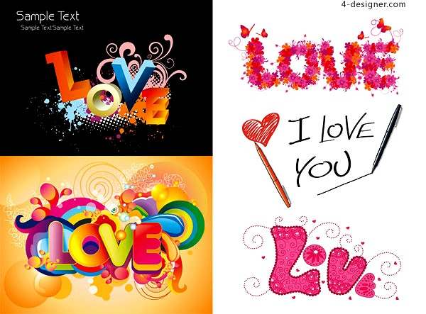 A variety of colorful vector words of LOVE