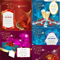 A variety of exquisite Valentine s Day greeting cards vector materials