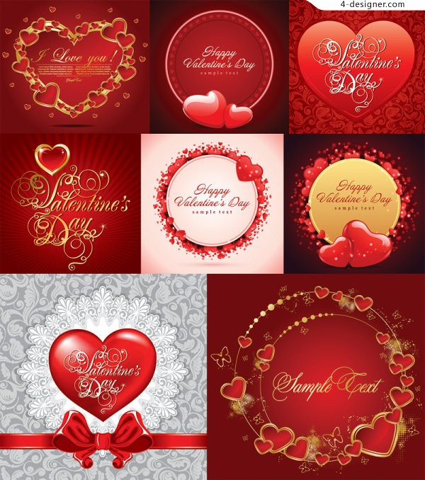 A variety of exquisite heart shaped Valentine s Day element vector materials