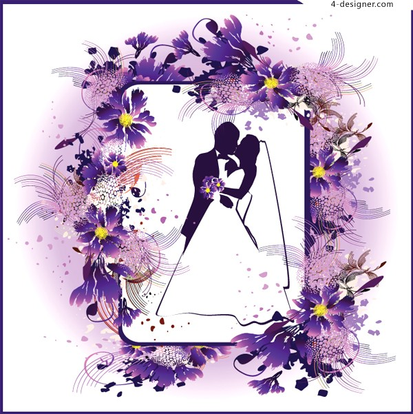A wedding theme flower lace vector material