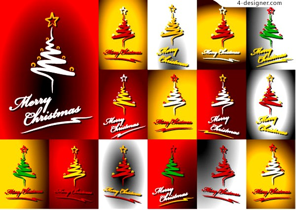 Abstract beautiful Christmas tree vector material