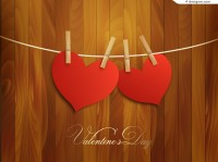 Bamboo clip double heart background vector material