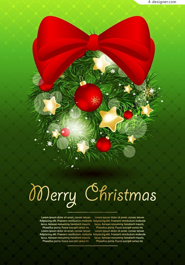 Beautiful Christmas decoration vector material