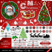 Beautiful Christmas element tag and icon vector material