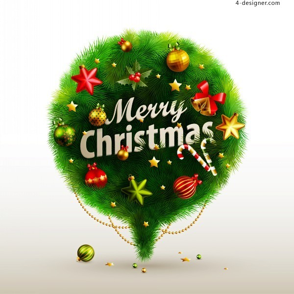 Beautiful Christmas tree balls vector material