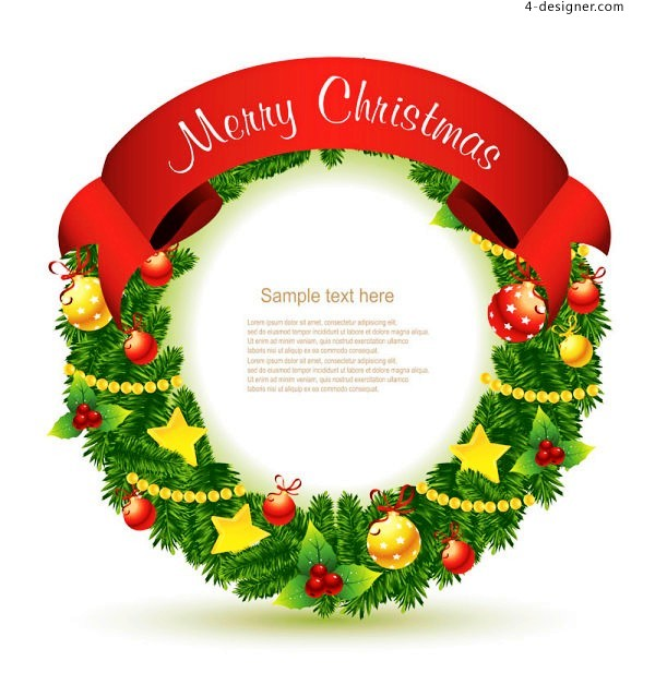 Beautiful Christmas wreath vector material