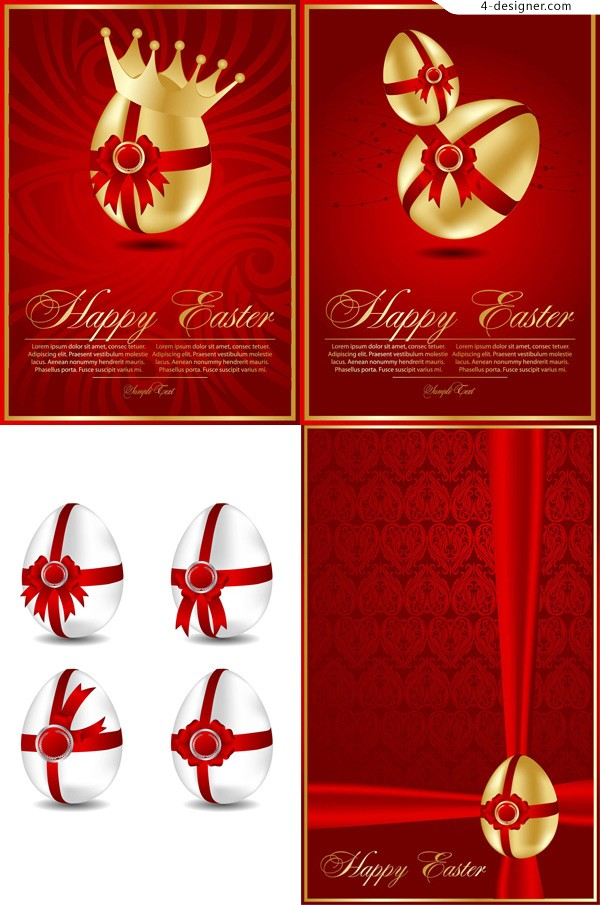 Beautiful Easter greeting cards vector material