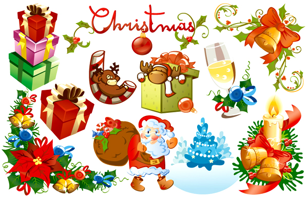 Beautiful lovely Christmas element vector material