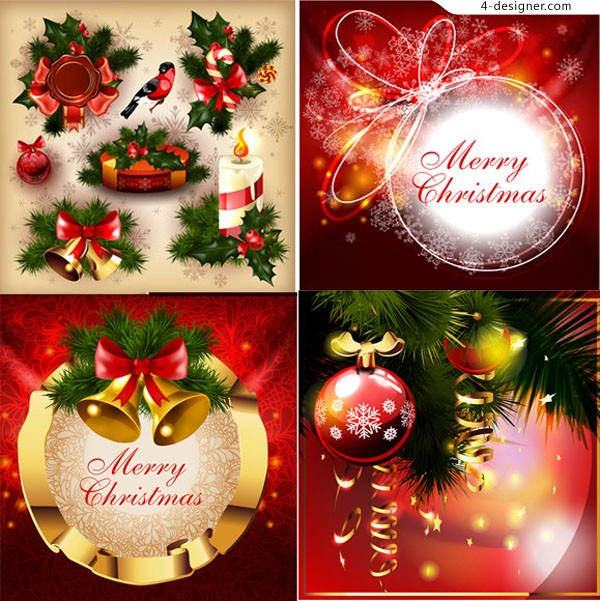 Beautiful red Christmas decoration vector material
