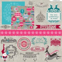 Beautiful retro Christmas WordArt vector material