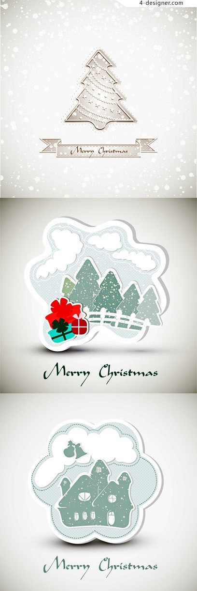 Beautiful white Christmas vector material