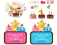 Birthday theme cartoon elements