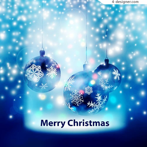 Blue Christmas hanging ball vector material