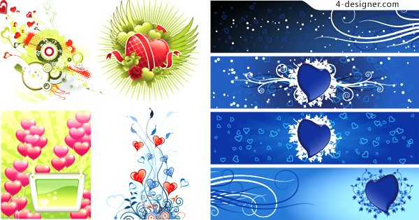 Blue heart shaped banner background vector material