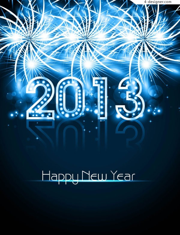 Bright 2013 New Year greeting cards vector material