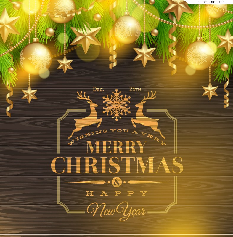 Bright Christmas poster vector material
