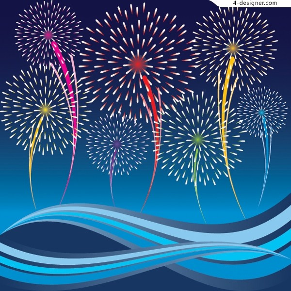Bright bloom of fireworks festival vector material