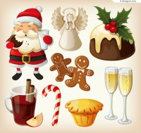 Cartoon Christmas food vector material