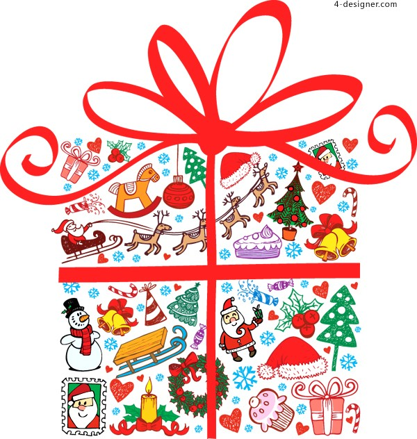 Cartoon Christmas gift vector material