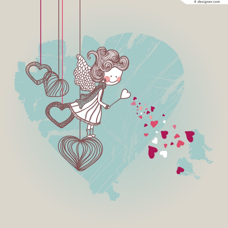 Cartoon Valentine s Day illustrator vector material